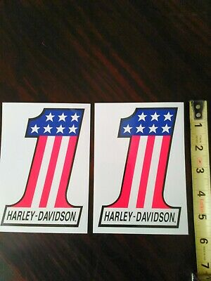 Harley-Davidson #1 Red/White And Blue Stickers Qty. Of Two (2)