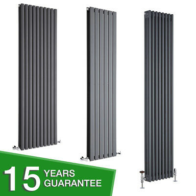 Anthracite Vertical Designer Radiator - Flat Panel, Oval Column, Cast Iron Style