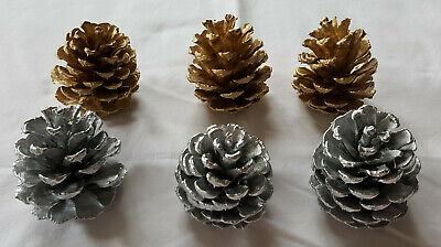 Lot of 6 Small 2.5-3 inch Silver & Gold Pinecones for decoration crafts etc