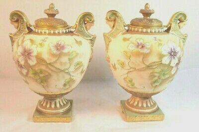 Pair 19th Century Keller & Guerin Porcelain Covered Urns