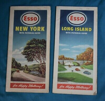 2 Vintage Esso Maps Long Island and New York with Pictorial Guides 1947 1948