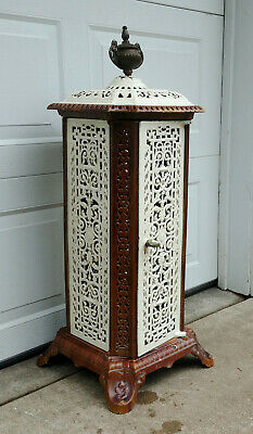 Antique Cast Iron French SDF Porcelain Enameled Parlor Wood Stove