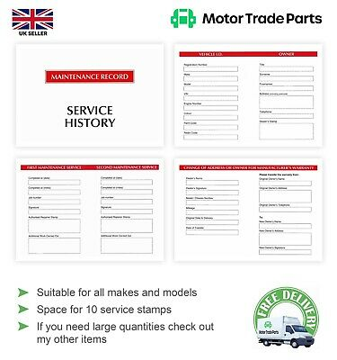 Vehicle Service Book - Blank History book - New for Motor Traders