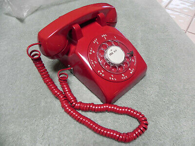 1962 Red Western Electric Bell System 500 Rotary Desk Telephone-Restored-Vtg