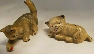 Two Antique Hubley Cast Iron Cat & Ball & Sleeping Cat Hand Painted.