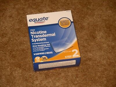 Equate Step 2 Clear Nicotine Transdermal System 14mg 14 STOP SMOKING PATCHES !!!