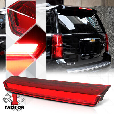 Chrome/Red 3D [LED BAR] Rear Third 3rd Brake Light Lamp for 15-20 Suburban/Tahoe