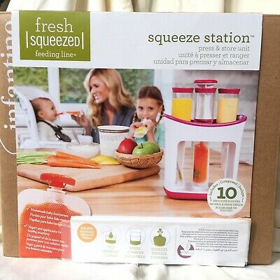 NIB Infantino Fresh Squeeze Station Press & Store Unit w/ 10 Single Use pouches