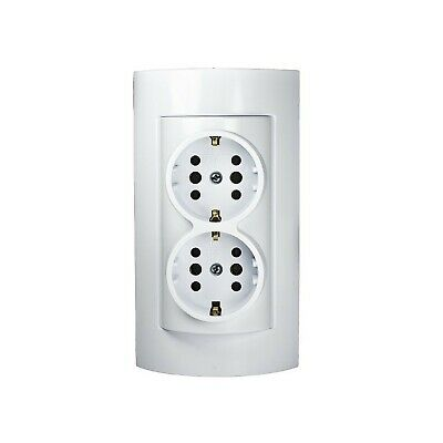 2-fach Surface Mount Schuko Outlet Wall Mounting IP20 White