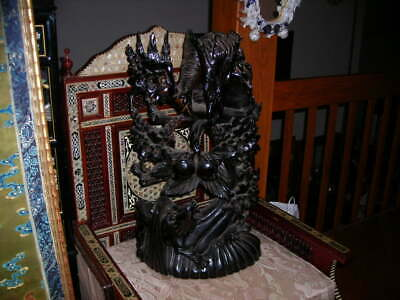 Unusual Vintage/Antique Huge Chinese Ebonized Wood Carving Statue 28X15X7