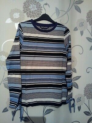 NEW EX DP Black Purple Stripe Scooped Neck Casual Blouse Tee Top Size 8-20