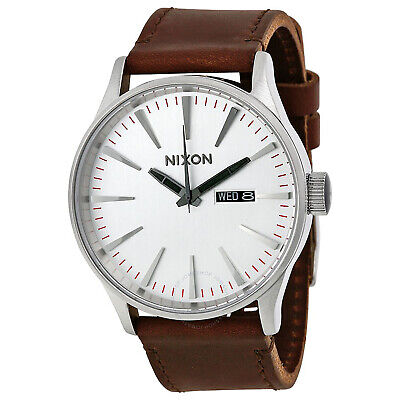 Nixon Sentry Leather Homme Montre - Silver Brown Une Taille