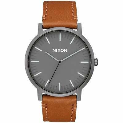 Nixon Porter Leather Homme Montre - Gunmetal Charcoal Taupe Une Taille