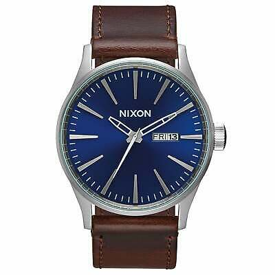 Nixon Sentry Leather Homme Montre - Blue Brown Une Taille