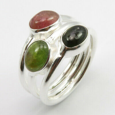925 Stamped Sterling Silver TOURMALINE Ring Size 5 14 mm Jewelery Gift