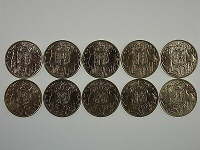10 x 1966 Silver Round 50 Cent Coins in aUnc to Uncirculated Condition