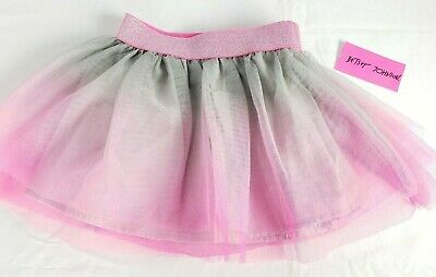 Betsey Johnson Tutu Skirt 3T Pink Gray Lined New With Tags
