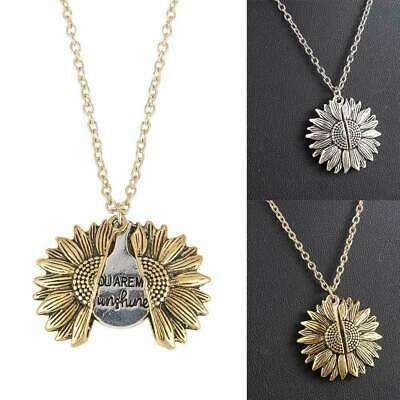 Charm Sunflower Pendant You Are My Sunshine Open Locket Necklace Women Jewelry