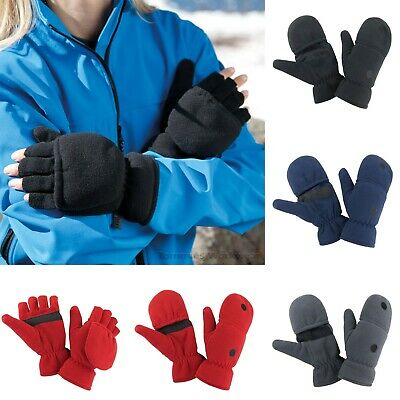 Convertible Gloves 2 in 1 Flip Mittens Thermal Winter Warm Fingerless - R363X