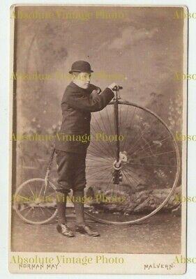 Old Cabinet Photo Young Man & Penny Farthing Bicycle Norman Maye Malvern 1880S