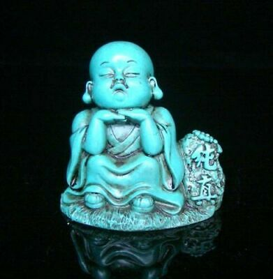 Collectible china Old Decorated Art Turquoise naive monk Sleep Statue buddha
