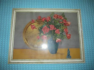 Vtg Large WOOD Ornate Wall Antique Floral Picture Print Lithograph ~ 1945