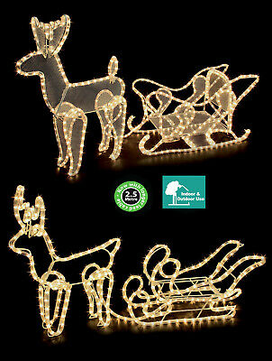 Christmas Outdoor Reindeer With Sleigh Rope Lights Decoration Mesh Or Silhouette