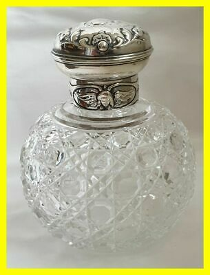 Large William Comyns Silver Perfume Bottle, Reynolds Angels, London 1902