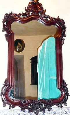 Wood Wall Mirror Woodcarving Old Antique Baroque Rococo Empire Louis XV XVI