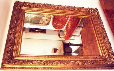 1,2m Gold Wood FACET Cut Relief Wall Mirror Old Antique Baroque Rococo Louis