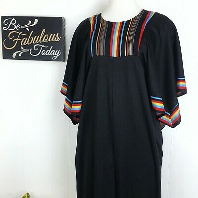 Vintage 1970s Butterfly Sleeve Jumpsuit Black & Striped Primary Colors / Small