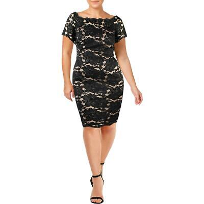 Adrianna Papell Womens Off-The-Shoulder Sheath Cocktail Dress Plus BHFO 3571