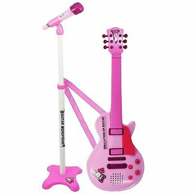Kids 6 String Pink Electric Play Guitar & Microphone Set with Adjustable Stand