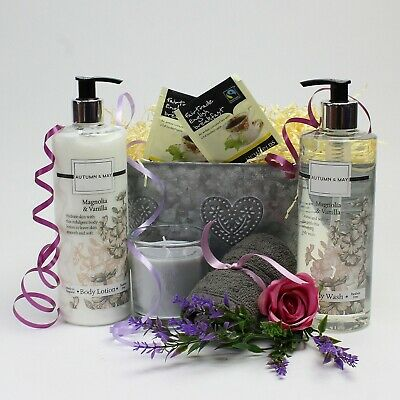 Body Care Gift Basket for Her in Zinc Planter. Magnolia & Vanilla for Ladies