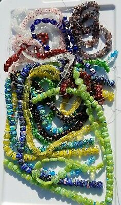 """Huge Lot Of Millefiori Beads 14 Strands - 15"""" each - over 1 lb - many shapes"""