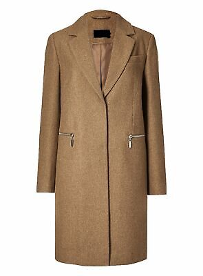 New Ex Marks And Spencer Brown Wool Blend Single Breasted Coat Jacket Size 8-24