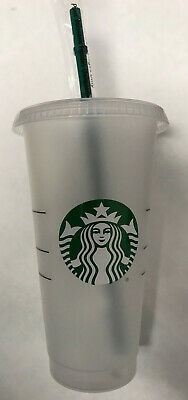 New Starbucks Reusable Venti 24 fl oz Frosted Ice Cold Drink Cup 2018