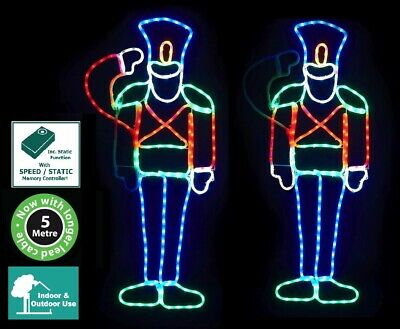 Saluting Soldier Nutcracker Led Rope Light Silhouette Decoration Outdoor Fac8008