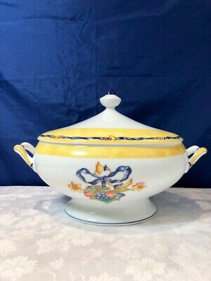 Bernardaud Limoges Porcelain Borghese Bleu Soupiere / Covered Tureen NEW IN BOX