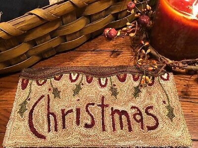Primitive Punch Needle Pattern ~ Christmas Banner