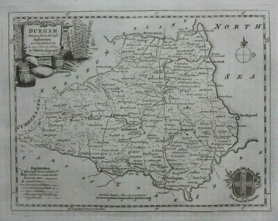 DURHAM original antique county map, Thomas Kitchin, 1786