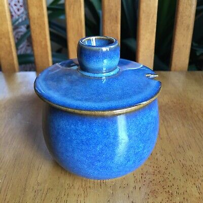 Rams Head Blue Denby Stoneware Sugar Dish With Lid Made In England