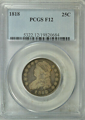 1818 Capped Bust quarter, large size, PCGS F12