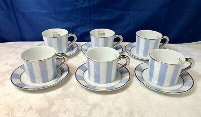 Bernardaud Limoges Galerie Royale Bleu Wallis 6 Tea Cups & saucer NEW IN BOX