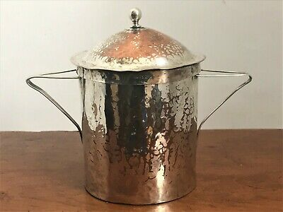 Antique Arts & Crafts Silvered Copper Tea Canister / Tea Caddy - c.1900 - 1910