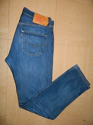 Levi 501 Mens Blue Jeans 32 Inch Waist 33 Inch Legs Button Fly Distressed Finish