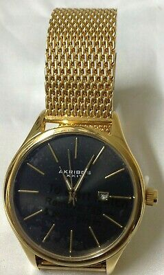 New Akribos XXIV AK959YGB Stainless Steel Mesh Watch