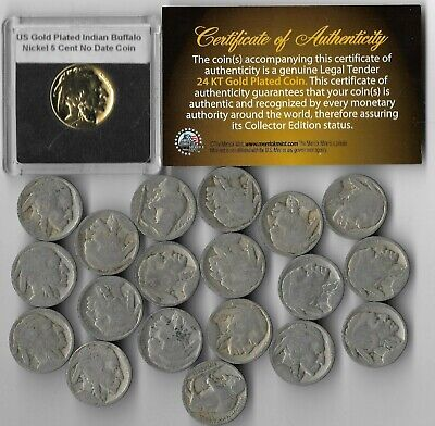 GREAT DEPRESSION Antique US Buffalo Indian Nickel Coin Collection Gold LOT:305