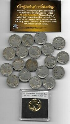 GREAT DEPRESSION Antique US Buffalo Indian Nickel Coin Collection Gold LOT:309