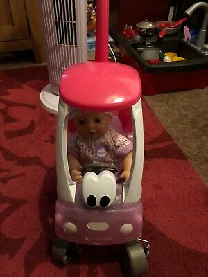 Zapf Creation My Little Baby Born Soft Doll with Cosy Coupe Car. VGC.